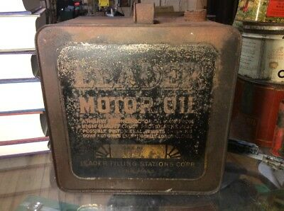 Vintage LEADER MOTOR OIL Can Square Advertising Service Station Extremely Rare