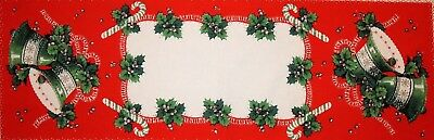 Vintage Cotton Christmas Table Runner w/ Green White Bells Holly &Candy Canes