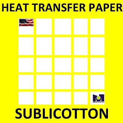SUBLICOTTON Heat Transfer Paper 8.5x11 50 Sh for Dye Sublimation Ink To Cotton