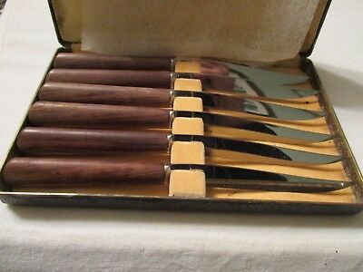 Vintage Henckels Friodur Set of 6 Steak Knives with Original Box Unused