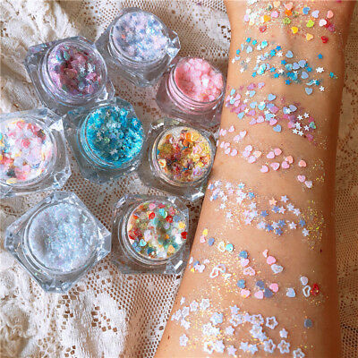 Cosmetic Glitter Sequins Gel Eyeshadow Face Hair Fairy Makeup Party Decoration