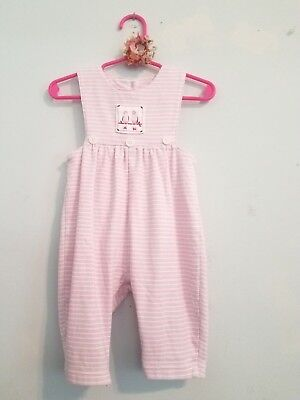 e29266200ed Little Girls 6 Month Boutique New Potatoes Pink Bird Embroidered Jumpsuit    Bow!