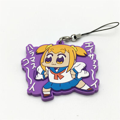 Pop Team Epic keychain Anime Keyring Figure Rubber Popuko Pipimi Pendent Gift