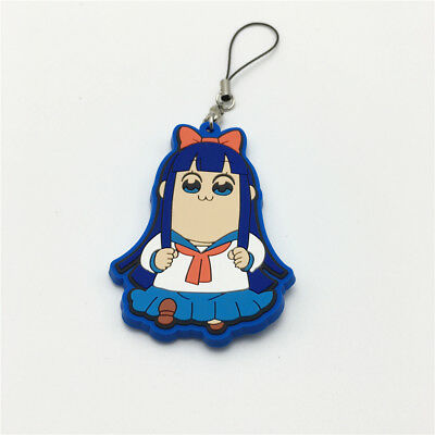 Pop Team Epic keychain Anime Keyring Figure Rubber Popuko Pipimi Pendent Gift #H