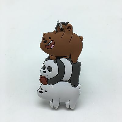We Bare Bears keychain Robert The Three Bare Bears Keyring Figure Rubber Pendent