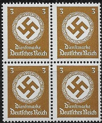 Germany 3rd Reich Mi# 166 Official Stamp Issued 1942/44 Block of 4 MNH **