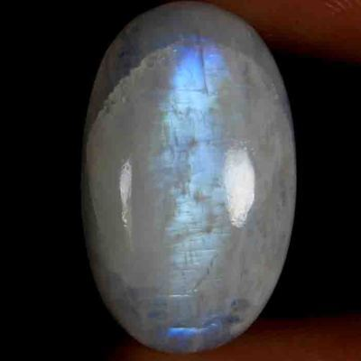 AAA 29.15cts 100% NATURAL BLUE FLASHY RAINBOW MOONSTONE oval CABOCHON GEMSTONE