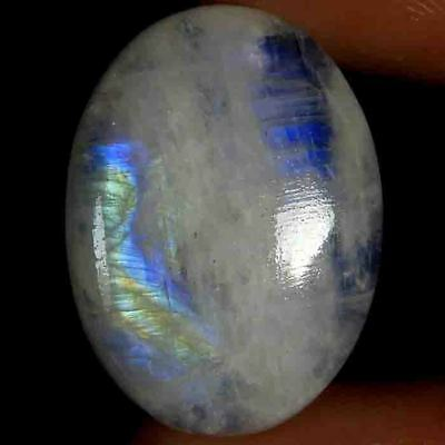 25.90cts 100% Natural Blue Flashy Rainbow Moonstone Oval Cabochon Gemstone