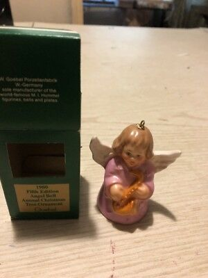 1980  Goebel  Fifth  Edition Annual Christmas Tree Ornament Angel Bell Pink