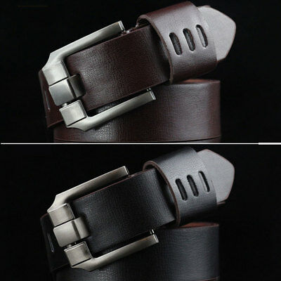 New Men's Vintage Genuine Leather Wide Belts New In Man Leather Belt Accessories