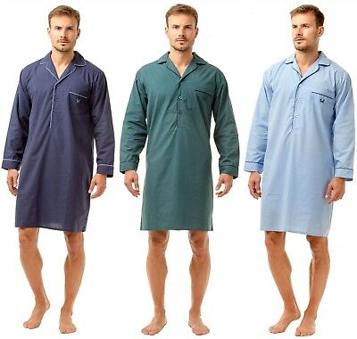 Mens Cotton Long Sleeve PJ'S Nightshirt Gown Green Navy Grey Xmas M- 5xl Sleep
