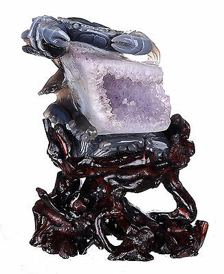 "6.38""Natural Geode Amethyst Agate Crab carving decoranimal sculpture #AO07"