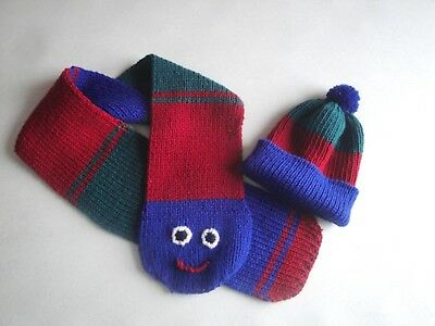 Caterpillar Scarf and Hat for Boys Striped Pom Pom Beanie Cap,Smiley Face Knit