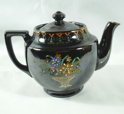 Japanese Brown Tea Pot Redware Hand Painted Floral Vintage