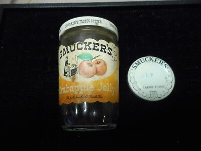 Vintage Smuckers Crabapple Jelly Jar with extra smaller lid marked 43 cents