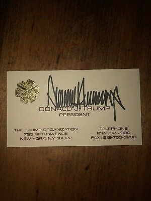 Donald Trump President Hand Signed Personal Business Card Authentic Autograph