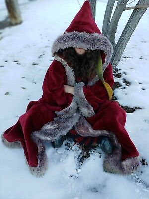 Long Red Velvet Winter Coat with Faux Fur Trim. Hand Made