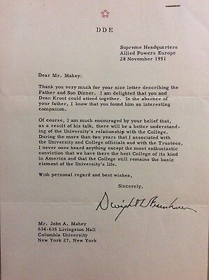 Dwight Eisenhower Signed Letter General And President