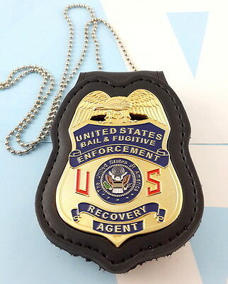 Bail & Fugitive Enforcement Recovery Agent Metal Badge 2 1/4 Inch & Leather Hold