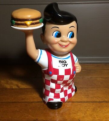 """BOB'S BIG BOY 8"""" Plastic Toy Coin Bank ELIAS BROTHERS RESTAURANT 1999 Manners"""