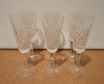 Set of 6 Waterford Crystal Alana Champagne Flutes 7 1/4  Tall