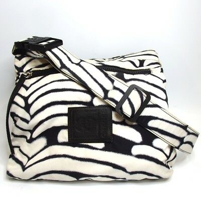 42adeb7a0550 Authentic CHANEL Sports Line Zebra Reversible Shoulder Bag Nylon Plat  sticks.