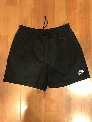 Vtg 90s NIKE Big Logo Black Silky Mens Running Track Shorts Sz XL White Tag