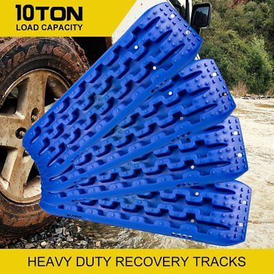 2Pair 10T Recovery Tracks 4x4 Off Road 4WD Sand Track Snow Mud Tyre Ladder Blue!