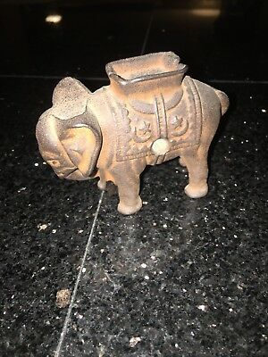 "Vintage CAST IRON ELEPHANT STILL BANK!  Approximately 3"" H"