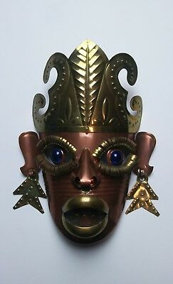 Vintage Handmade Folk Art Metal Mask - Tin & Brass with Glass Eyes Unique