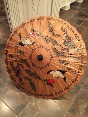 Vintage Chinese Japanese Rice Paper Parasol Umbrella Bamboo, Decor, Prop, Gift
