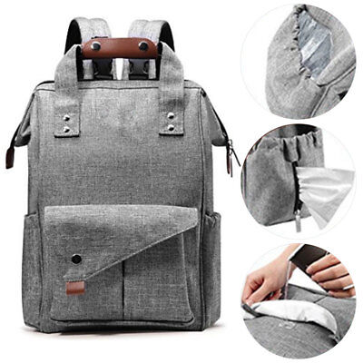 UK Multi-use Large Mummy Baby Diaper Nappy Backpack Mom Changing Travel Bag Gray