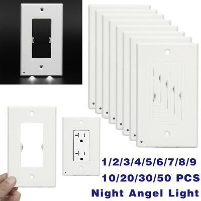 Plug Cover 2 LED Night Angel Light Wall Outlet Cover Plate Hallway Bathroom