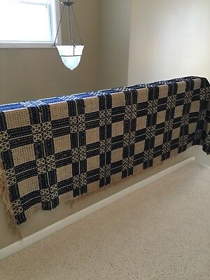 """Early Antiques Navy Blue & Cream 88"""" X 77 1/2"""" Patterned Coverlet Textile"""