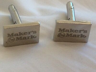 Maker's Mark Bourbon Whisky Cufflinks Set  Super Rare  Great For The Bar As Well