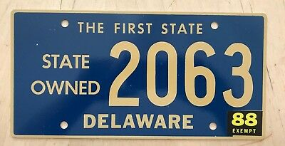 """1988 Delaware State Owned Exempt License Plate """" 2063 """" De  Low Number 4 Digit"""