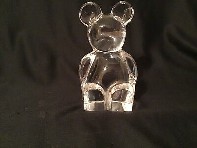 Orrefors Crystal Teddy Bear Signed And Sticker Figurine Paperweight Sweden