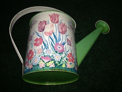 OHIO ART Vintage LITH TIN METAL CHILDS TOY WATERING SPRINKLER CAN - BEES TULIPS