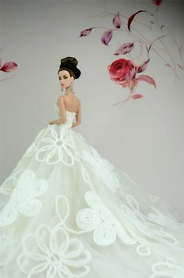 White Fashion Royalty Party Princess Dress Clothes/Gown For Barbie Doll NEW