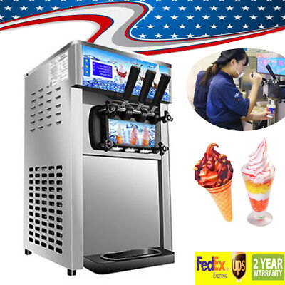 Commercial Soft Ice Cream Machine 3 Flavor Frozen Yogurt Cone Maker--From USA