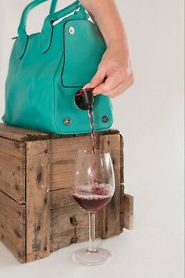 Wine Bottle Insulated Cooler Bag Tote Carrier Purse Handbag aqua