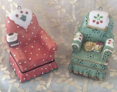 Pair Of VTG MARY ENGELBREIT Christmas Ornaments, Ceramic Easy Chairs, 1997