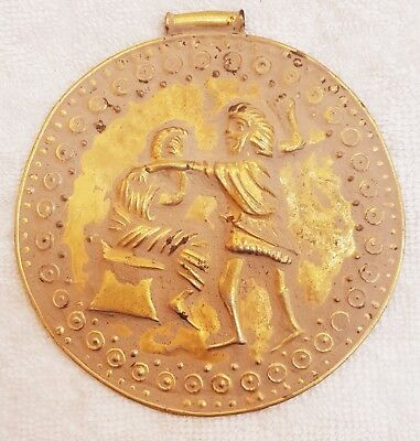 Gold On Silver Very Beautiful Old Roman Bakhtar Lovely Shape Unique Pendant # E5