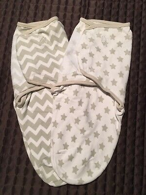 Swaddle Me Gray/white Chevron And Stars Set Of 2 Swaddles, Size S/M