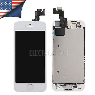 For iPhone 5S White LCD Touch Screen Digitizer+Front Camera+ Gold Home Button AU