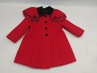 Vintage Cute Togs NY Christmas Red/ black Coat GIRLS TODDLERS - Size 4?