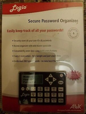 Logio by Atek Secure Password organizer NEW IN PACKAGE