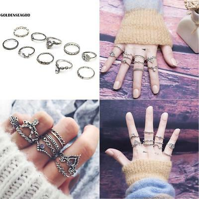 10Pcs/Set Ethnic Ring Style Festival Stainless Steel Knuckle Rings Assorted GDNG