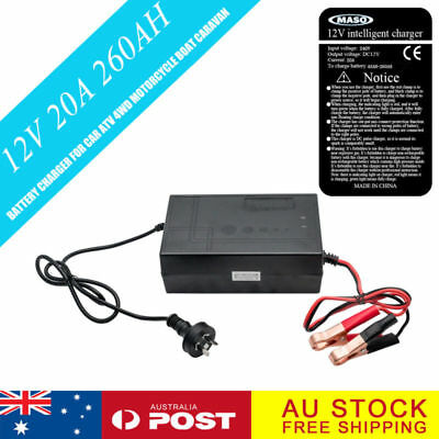 Battery Charger 12V-240V 20 Amp for Car ATV 4WD Motorcycle 20A Boat Caravan New
