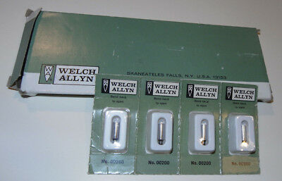 4 New Welch Allyn 00200 Replacement Lamp Bulbs! Sealed! Made In Usa!